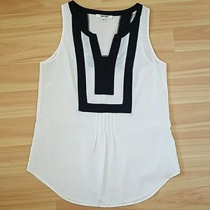 Semi sheer sleeveless blouse